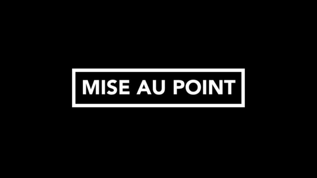 MISE AU POINT DE L'EQUIPE
