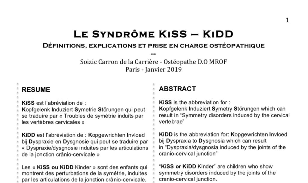 Le Syndrôme KiSS – KiDD  Définitions, explications et prise en charge ostéopathique